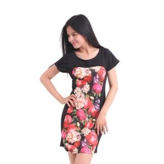 Đầm suông body in hoa có tay