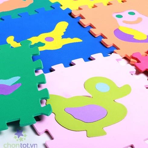 10 miếng thảm xốp cho bé vui chơi, tập đi - Hình thú, hoa quả, số đếm