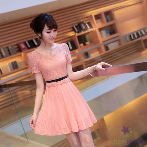 Đầm Voan Thời Trang Chân Váy Xếp Ly D1119RN - DT0024