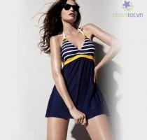 Đồ bơi một mảnh kiểu váy phối sọc - DT0036