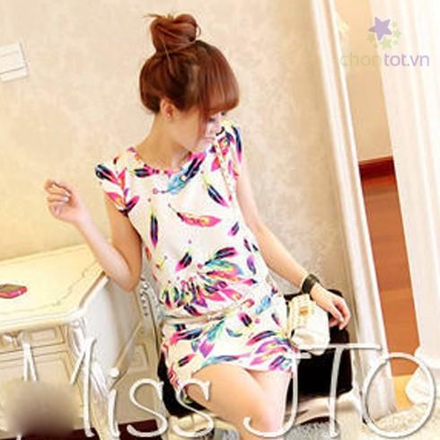 Đầm Chiffon Họa Tiết Lông Vũ - DT0036