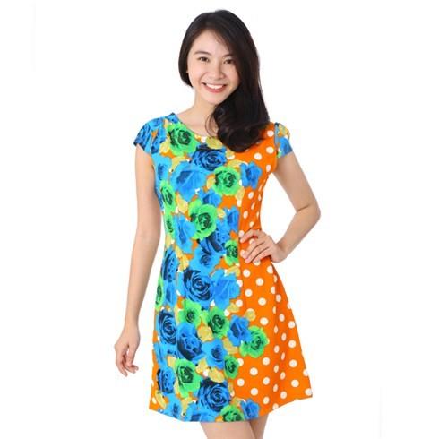 Đầm dạo phố chấm bi in hoa thời trang - CT113 31909